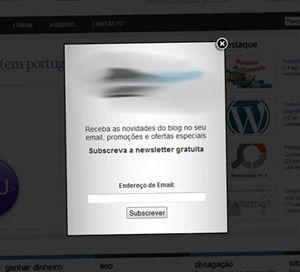 Exemplo de pop-up de subscrição