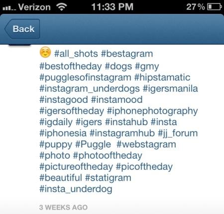 Não exagere nas hashtags dos posts do Instagram